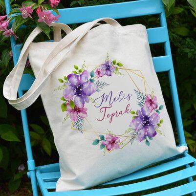 - Çiçek Motifli Kadınlar Gününe Özel Bez Çanta