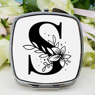 Çiçek Temalı Harfli Makyaj Aynası - Thumbnail