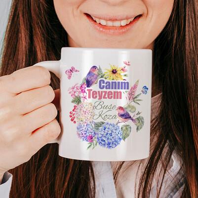 - Çiçek Teyzem İsimli ve Mesajlı Kupa Bardak