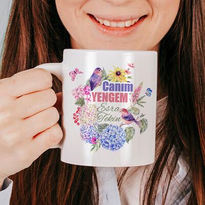 Çiçek Yengem İsimli ve Mesajlı Kupa Bardak - Thumbnail