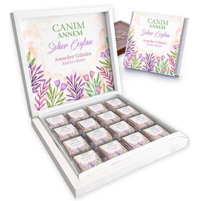 - Çiçekler ve Annem Temalı Kutu Çikolata