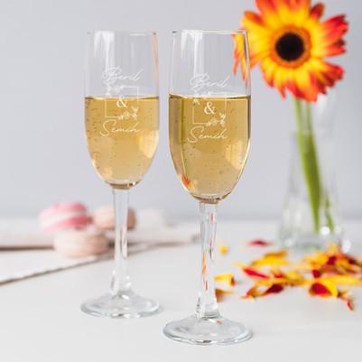 - Çiftler İçin Kişiye Özel 2'li Şampanya Bardağı