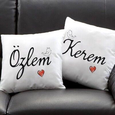 - Çiftlere Özel 2 İsimli Kare Yastık