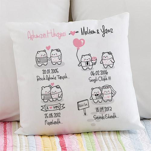 Çiftlere Özel Aşkımızın Hikayesi Yastık