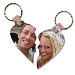 Çiftlere Özel Fotoğraflı Kalp Anahtarlık - Thumbnail