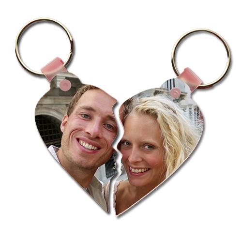 Çiftlere Özel Fotoğraflı Kalp Anahtarlık