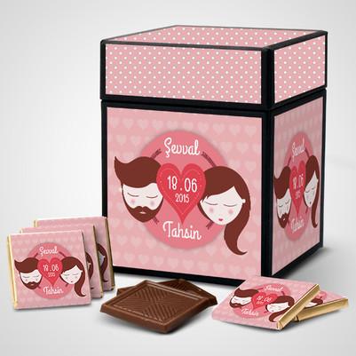 - Çiftlere Özel İsim Yazılı Çikolata Kutusu