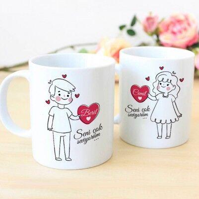 - Çiftlere Özel İsim Yazılı Kahve Kupası
