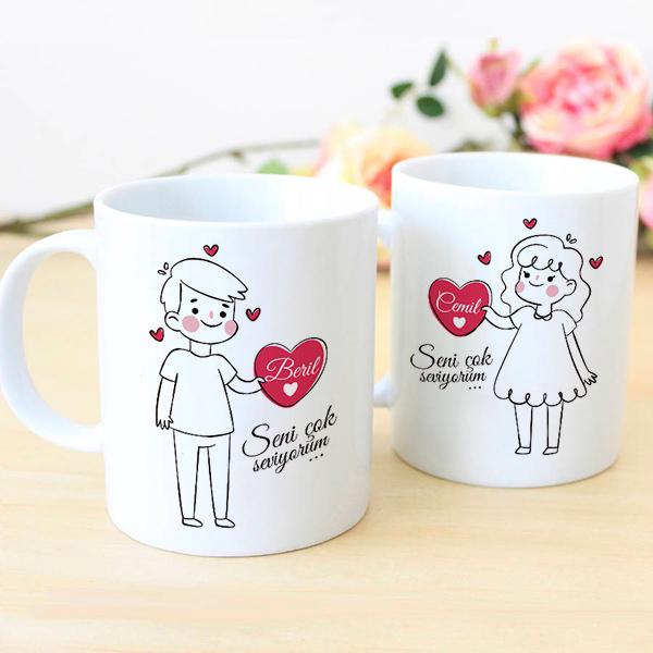 Çiftlere Özel İsim Yazılı Kahve Kupası