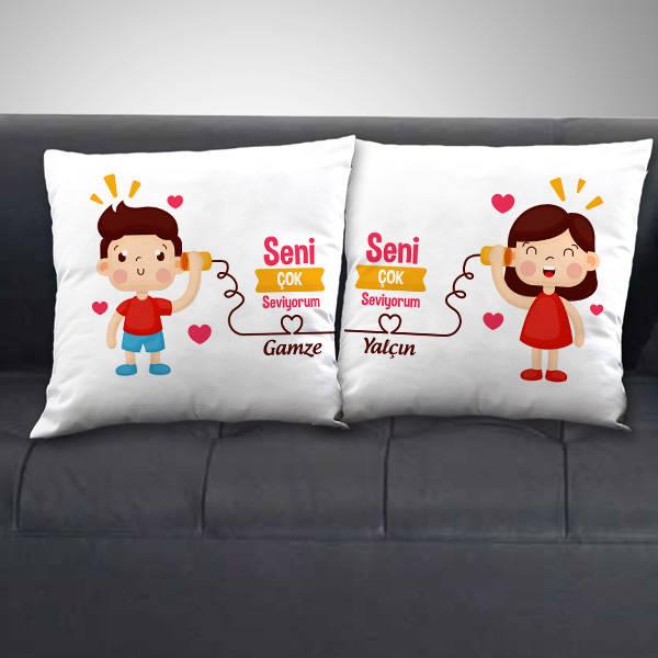 Çiftlere Özel Seni Seviyorum İsimli Yastık