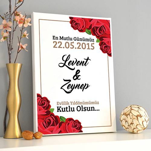 Çiftlere Özel Yıldönümü Kanvas Tablo