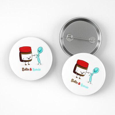 Çikolata ve Kaşık Arkadaşlığı Buton Rozet - Thumbnail
