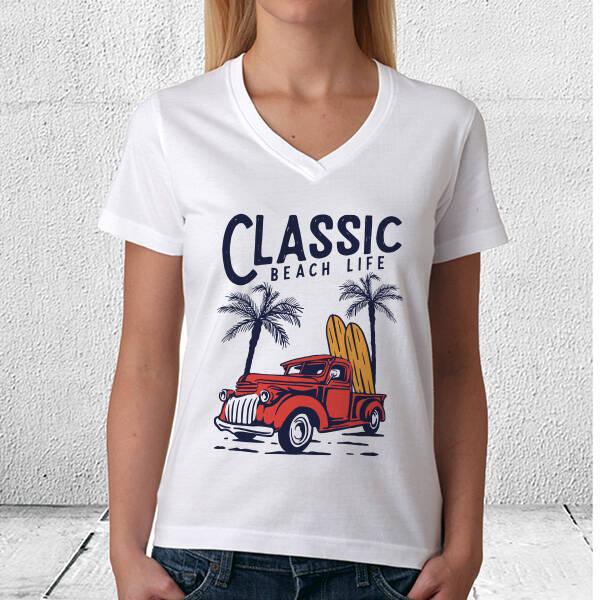 Classic Beach Life Tasarım Tişört