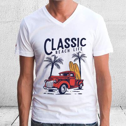 Classic Beach Life Tasarım Tişört - Thumbnail