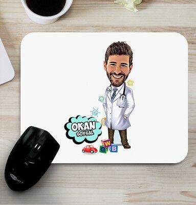 - Çocuk Doktoruna Hediye Karikatürlü Mousepad