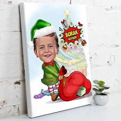 - Çocuk Noel Baba Karikatürlü Kanvas Tablo