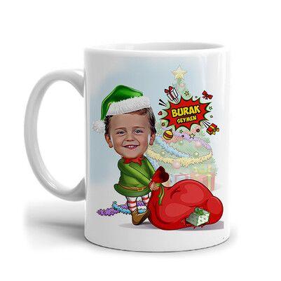- Çocuk Noel Baba Karikatürlü Kupa Bardak