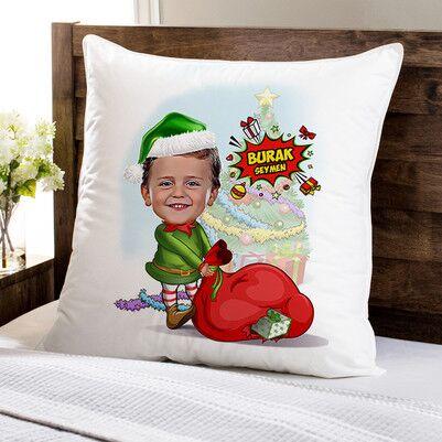 - Çocuk Noel Baba Karikatürlü Yastık