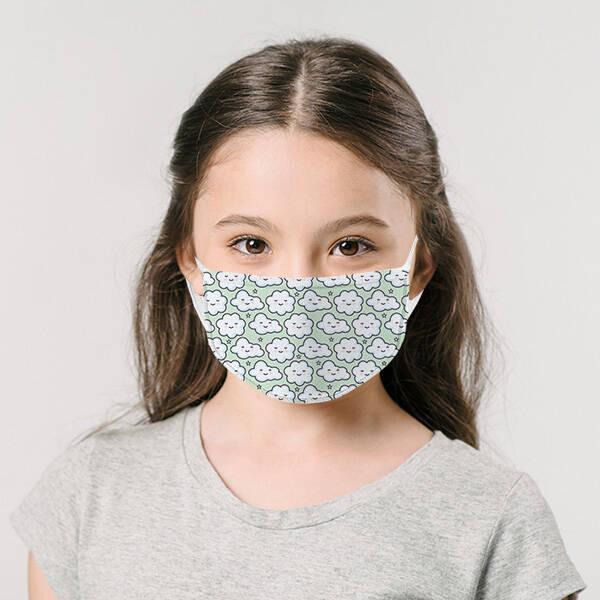 Çocuklara Özel Bulut Tasarımlı Maske
