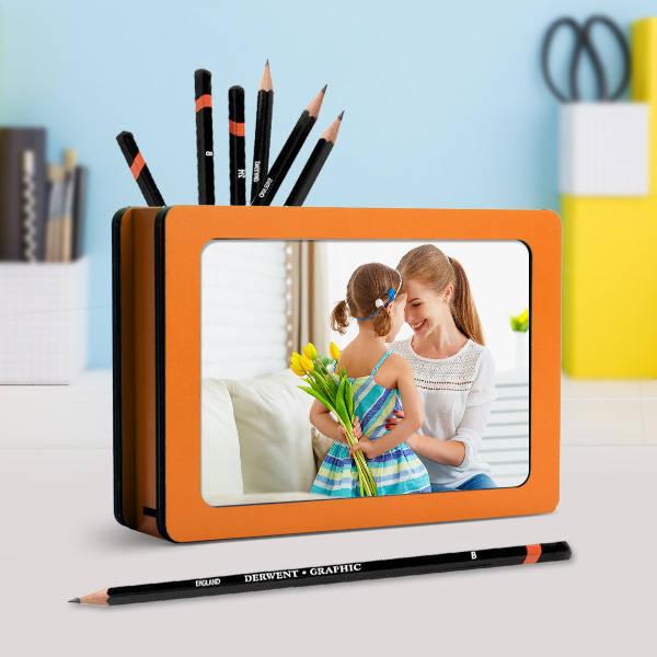 Çocuklara Özel Fotoğraflı Ahşap Kalemlik