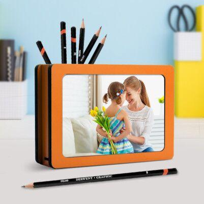 Çocuklara Özel Fotoğraflı Ahşap Kalemlik - Thumbnail