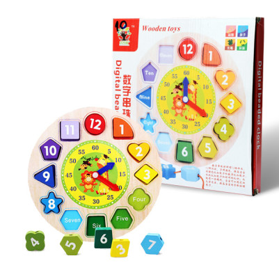 Çocuklara Saat Öğretici Ahşap Oyuncak - Thumbnail