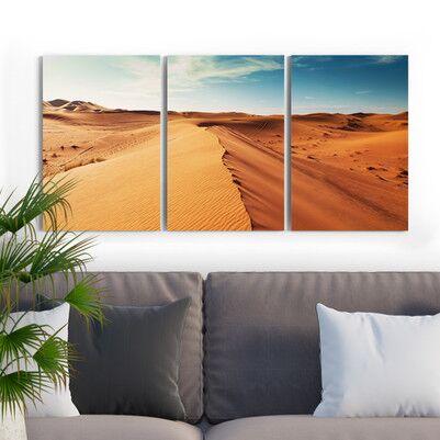 Çöl Manzaralı 3 Parça Kanvas Tablo - Thumbnail