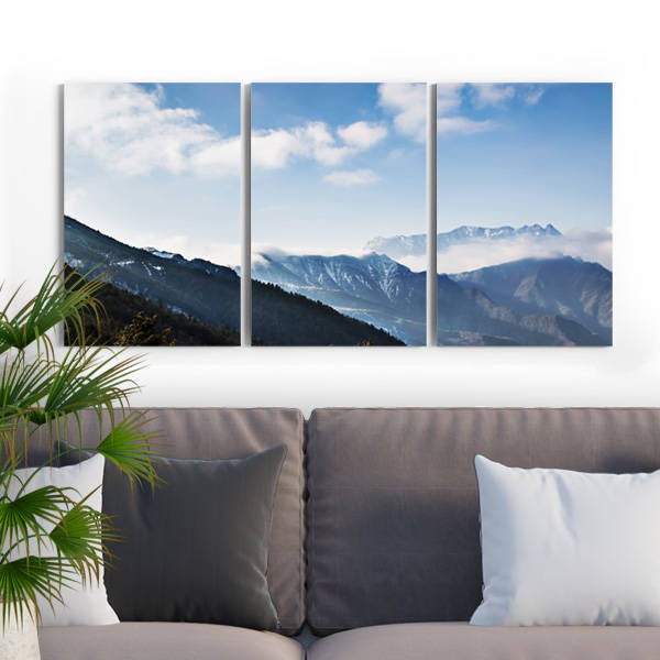 Dağ Manzaralı 3 Parça Kanvas Tablo