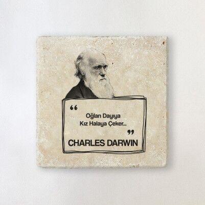 - Darwin Esprili Taş Bardak Altlığı