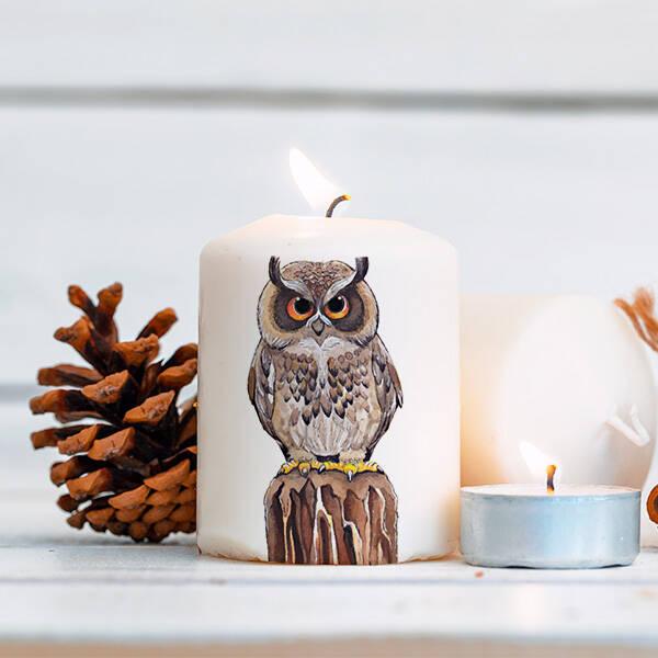 Dekoratif Baykuş Mum