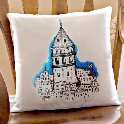 Dekoratif Galata Kulesi Kare Yastık