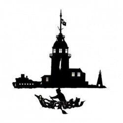 Dekoratif Kız Kulesi Temalı Sarkaçlı Duvar Saati - Thumbnail