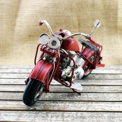 Dekoratif Nostaljik Kırmızı Motosiklet - Thumbnail