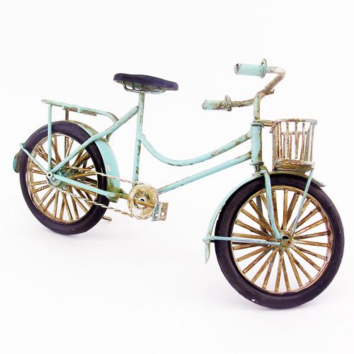 Dekoratif Nostaljik Metal Mavi Bisiklet