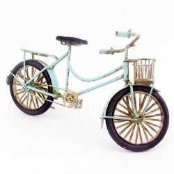 Dekoratif Nostaljik Metal Mavi Bisiklet - Thumbnail