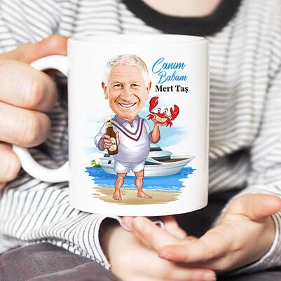 Deniz Aşığı Babam Karikatürlü Kupa Bardak - Thumbnail
