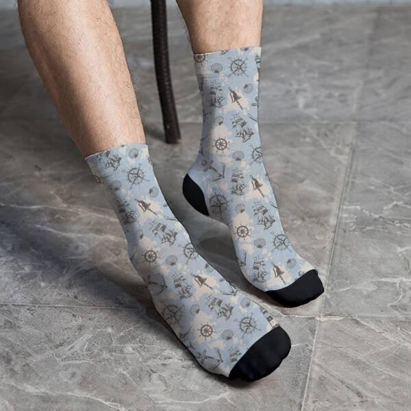 Deniz İkonları Desenli Çorap