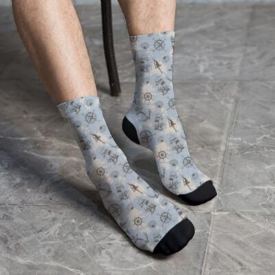 - Deniz İkonları Desenli Çorap