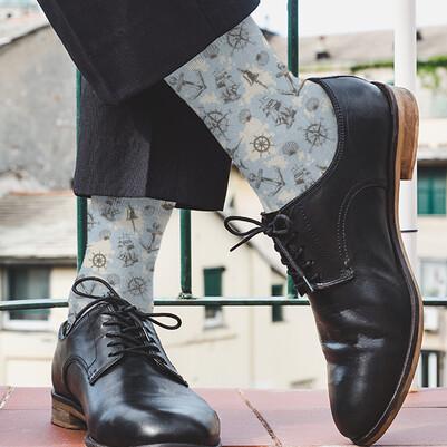 Deniz İkonları Desenli Çorap - Thumbnail