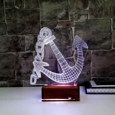 - Denizci Çapası 3D LED Lamba