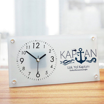 - Denizci Kaptana Hediye Cam Masa Saati