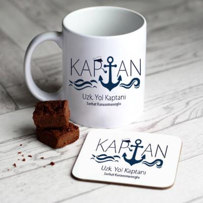 - Denizci Kaptana Hediye Kupa Ve Bardak Altlığı