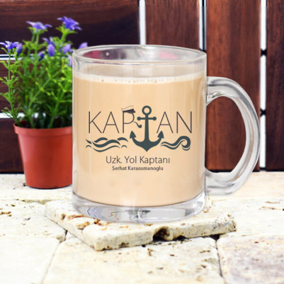 - Denizci Kaptanlara Hediye Cam Kupa Bardak