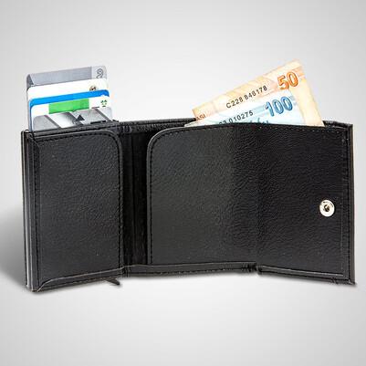 Dikey İsim Yazılı Kredi Kartlıklı Cüzdan - Thumbnail