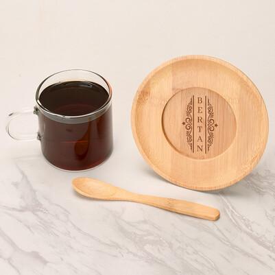 - Dikey İsimli Cam Çay Fincanı
