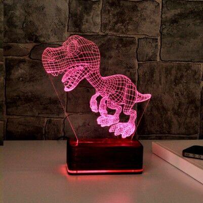 Dinozor 3D Led Gece Lambası - Thumbnail