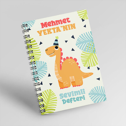 Dinozor Tasarımlı Kişiye Özel Çocuk Defteri - Thumbnail