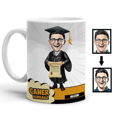 - Diplomalı Öğrenci Karikatürlü Kupa Bardak