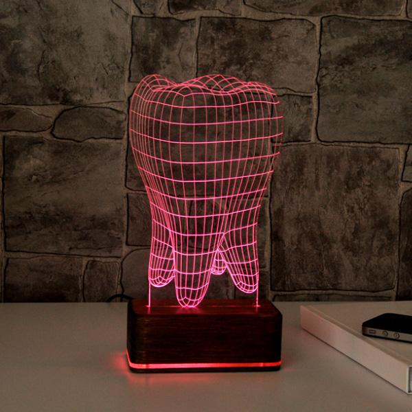 Diş Şeklinde 3D LED Lamba