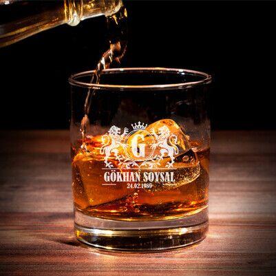 Doğum Günü Tarihli İsme Özel Viski Bardağı - Thumbnail